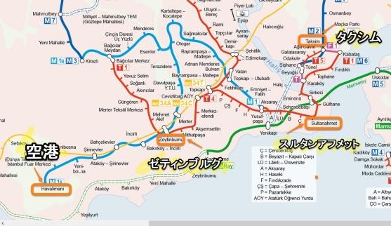 トルコアタチュルク空港から旧市街への路線図